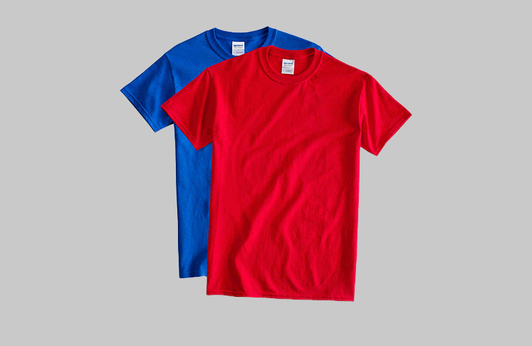blue and red t shirts